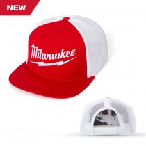 Red and White Wool Blend Flatbill Trucker Cap